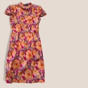 Size 8 Orange + Pink Hugo Boss Sheath Dress